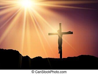 jésus, croix, ciel coucher soleil, contre, silhouette, 0403
