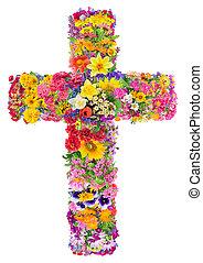 jésus, croix, fleurs