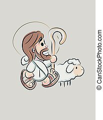 jésus, dessin animé, d