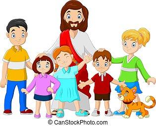 jésus, dessin animé, enfants, christus