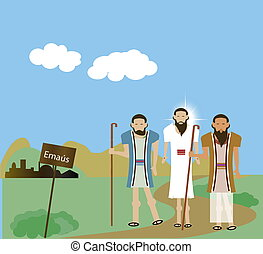 jésus, disciples, emma, deux