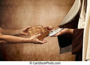 jésus, donne, pain, et, fish