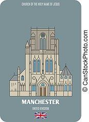 jésus, européen, église, architectural, manchester, uk., ...