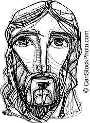 jésus, expressionist, christ, figure