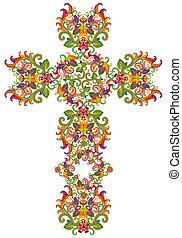 jésus, floral, style, fishnet, croix