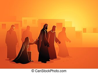 jésus, guérit, femme, saignement
