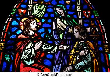 jésus, marie, martha, vitrail