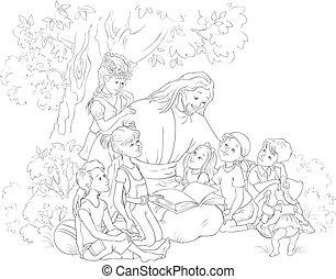 jésus, page, bible, coloration, lecture, enfants