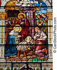 jésus, peter, nativité, complété, san, église, catholique, 1924, saint, scène, naissance, francisco, californie, paul