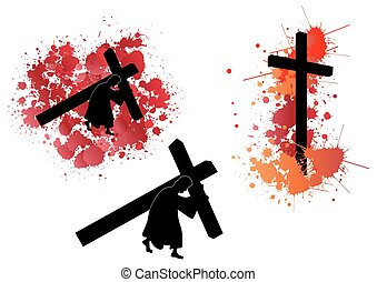 jésus, porter, croix