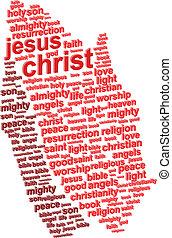 jésus, résumé, prière, christ, mains