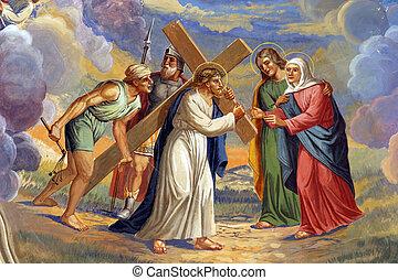 jésus, rencontre, sien, mère