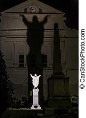 jésus, rue., nuit, derrière, statue, louis, orléans, christ...