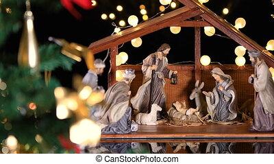 jésus, scène, nativité, arbre, noël, christ, lumières, atmosphérique