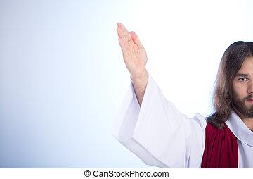 jésus, sien, élevant main