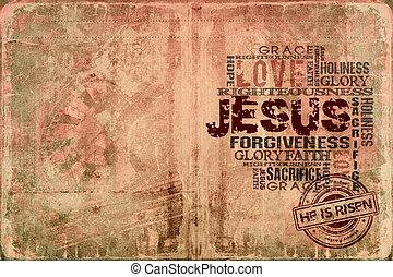 jézus, emelkedett, ő