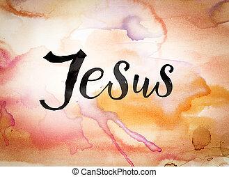 jézus, fogalom, vízfestmény, téma