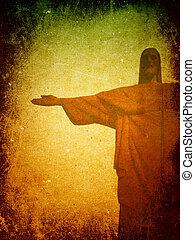 jézus, háttér, grunge