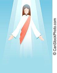 jézus, háttér, krisztus, emelkedett, kereszténység