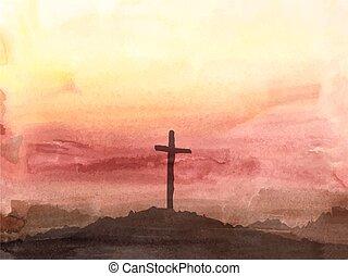 jézus, húsvét, ábra, cross., vízfestmény, színhely, christ.