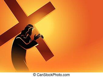 jézus, hord, övé, kereszt