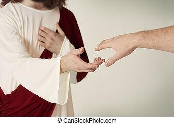 jézus, kéz, megmentés, hűséges, elérő