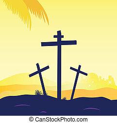 jézus, keresztre feszítés, -, három, színhely, keresztbe tesz, kálváriadomb