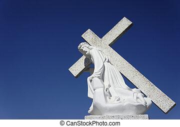 jézus, szállítás, egy, kereszt