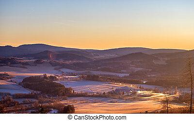 jíní, hory, východ slunce, krajina, kopcovitý, les, kopyto, sněžit, zima, -, louky