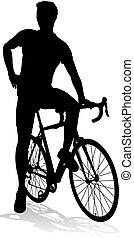 jízdní, silueta, jezdit na kole, cyklista, jezdit na kole
