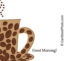 jó, csésze, kávécserje, reggel