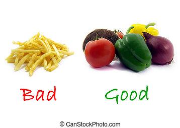 jó, egészségtelen, egészséges, rossz, élelmiszer, élelmiszer, befest