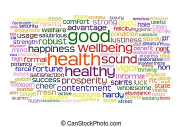 jó health, és, wellbeing, címke, felhő