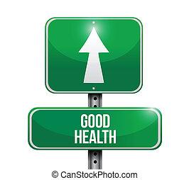 jó health, út cégtábla, ábra, tervezés