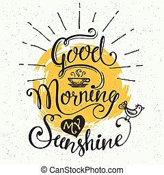jó, napfény, az enyém, reggel