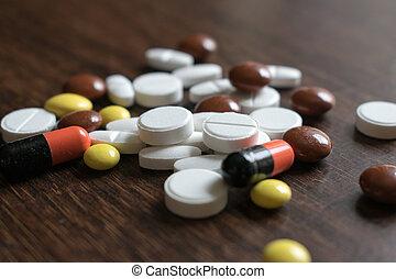 jó, orvosi, többszínű, fenntart, termékek, egészség,...
