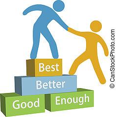 jó, segítség, emberek, jobb, legjobb, teljesítés