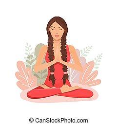 jóga, lótusz, karikatúra, üzelmek, elmélkedés, leány