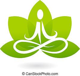 jóga, lotus, ikona, /, emblém