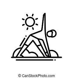 jóga, -, moderní, vektor, jednoduché vedení, ikona