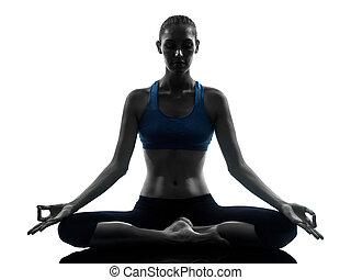 jóga, woman elmélkedik, gyakorlás