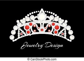 jóia, coroa, experiência., desenho, pretas, prata, brilhar