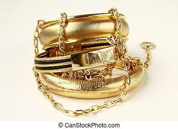 jóia, correntes, ouro, pulseiras