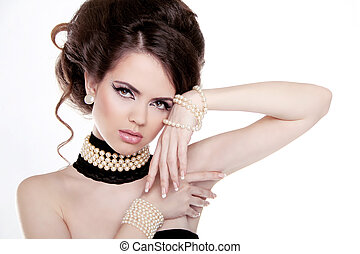 jóia, e, hairstyle., moda, retrato, de, mulher bonita, com,...
