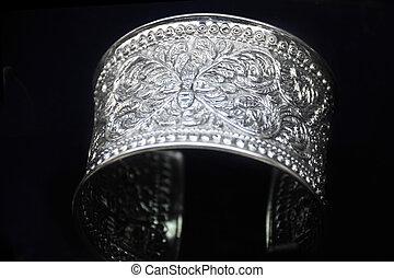 jóia, feito, de, silver.