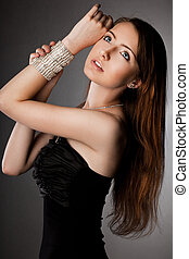 jóia, na moda, prata, mulher, elegante