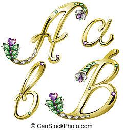 jóia ouro, alfabeto, letras, um