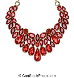 jóia ouro, colar, rubis, vermelho, ilustração