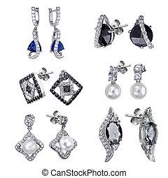 jóias, brincos, branca, isolado, fundo