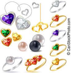 jóias, diferente, ouro, colares, anéis, prata